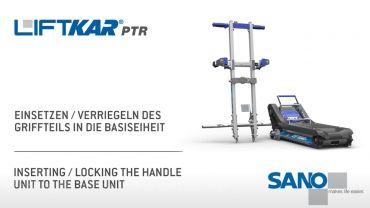 LIFTKAR PTR monte-escaliers a chenillette - verrouillage de la poignée sur l'unité de base