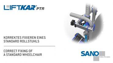 LIFTKAR PTR monte-escaliers a chenillette - fixation correcte d'un fauteuil roulant standard